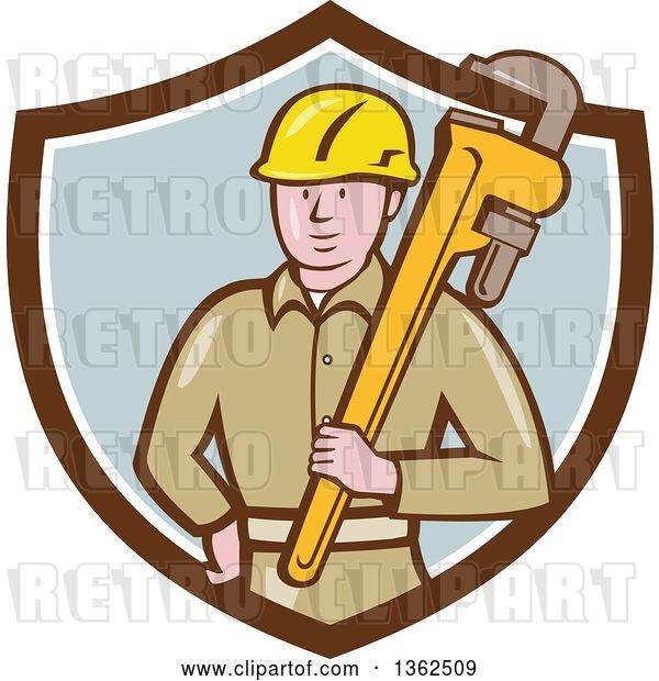 Vector Clip Art of Retro Cartoon White Male Plumber Holding a Giant Monkey Wrench in a Brown White and Pastel Blue Shield