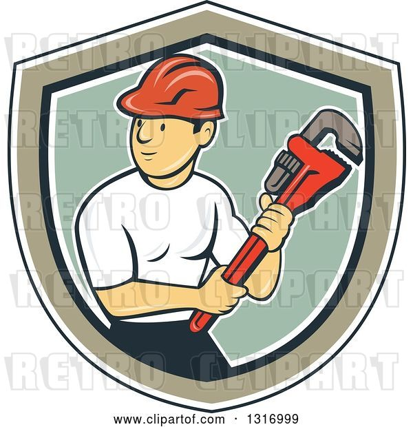 Vector Clip Art of Retro Cartoon White Male Plumber Holding a Giant Monkey Wrench in a Navy Blue, White, Tan and Green Shield