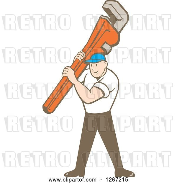 Vector Clip Art of Retro Cartoon White Male Plumber Holding a Monkey Wrench