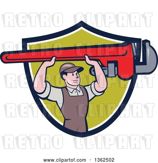 Vector Clip Art of Retro Cartoon White Male Plumber Holding up a Giant Monkey Wrench in a Navy Blue, White and Green Shield