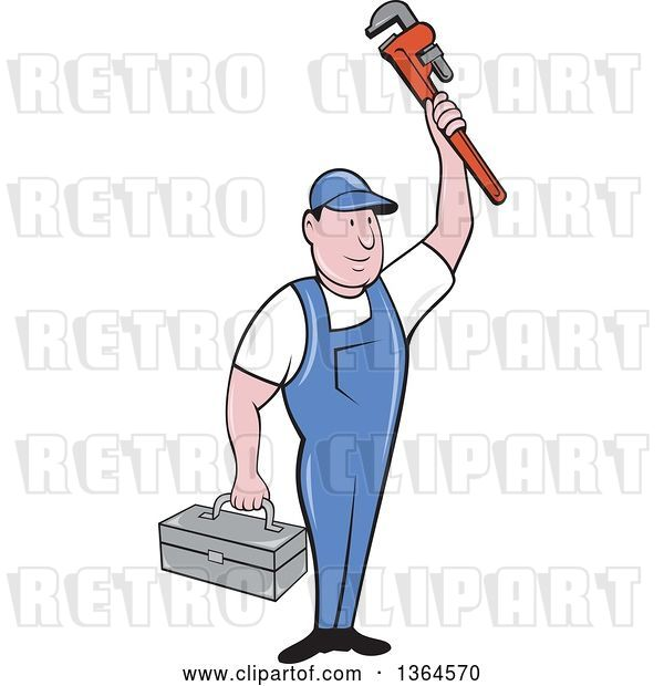 Vector Clip Art of Retro Cartoon White Male Plumber Holding up a Monkey Wrench and Tool Box