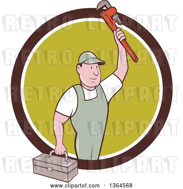 Vector Clip Art of Retro Cartoon White Male Plumber Holding up a Monkey Wrench and Tool Box in a Brown White and Green Circle