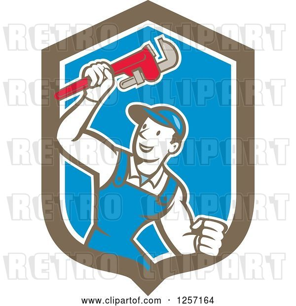 Vector Clip Art of Retro Cartoon White Male Plumber Holding up a Monkey Wrench in a Blue White and Brown Shield