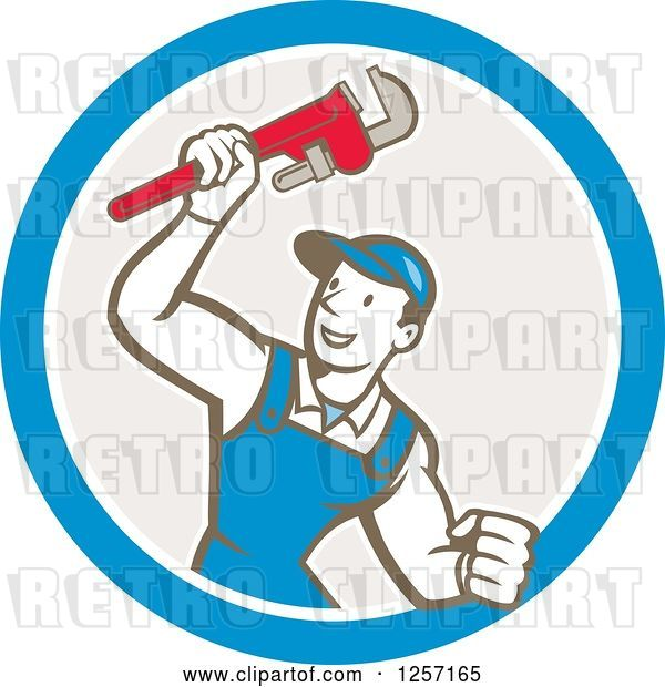 Vector Clip Art of Retro Cartoon White Male Plumber Holding up a Monkey Wrench in a Blue White and Taupe Circle