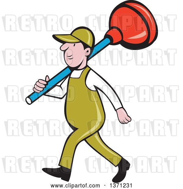 Vector Clip Art of Retro Cartoon White Male Plumber Walking with a Giant Plunger over His Shoulders