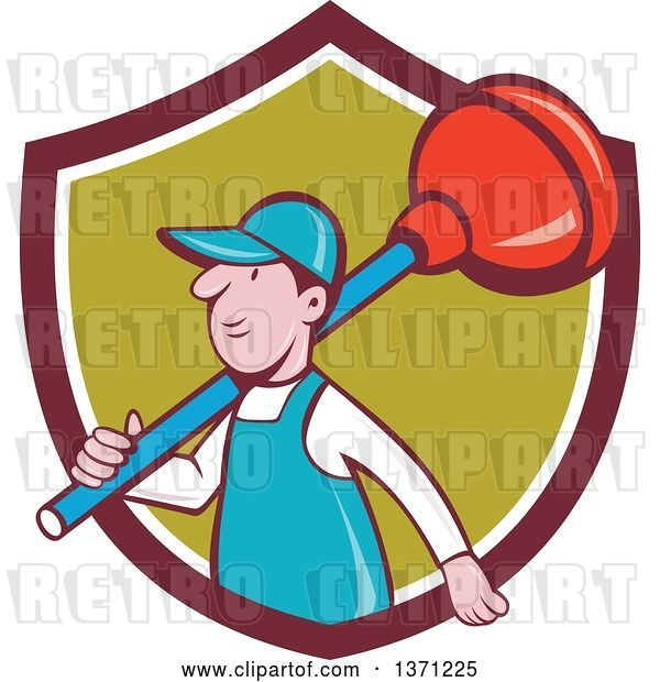 Vector Clip Art of Retro Cartoon White Male Plumber with a Giant Plunger over His Shoulder, Emerging from a Shield