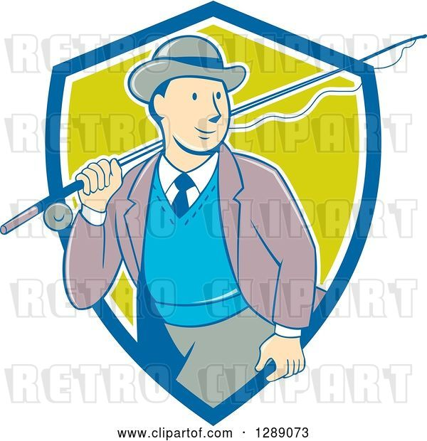 Vector Clip Art of Retro Cartoon White Male Tourist Walking with a Fly Fishing Rod over His Shoulder in a Blue White and Green Shield