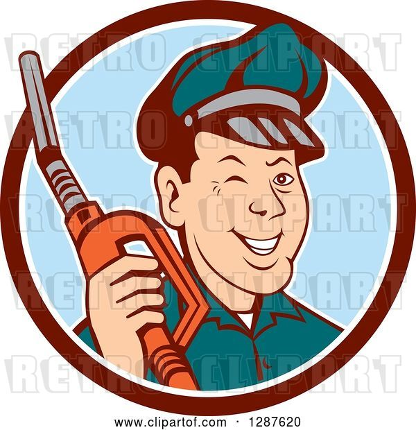 Vector Clip Art of Retro Cartoon Winking Gas Station Attendant Jockey Holding a Nozzle in a Brown White and Blue Circle