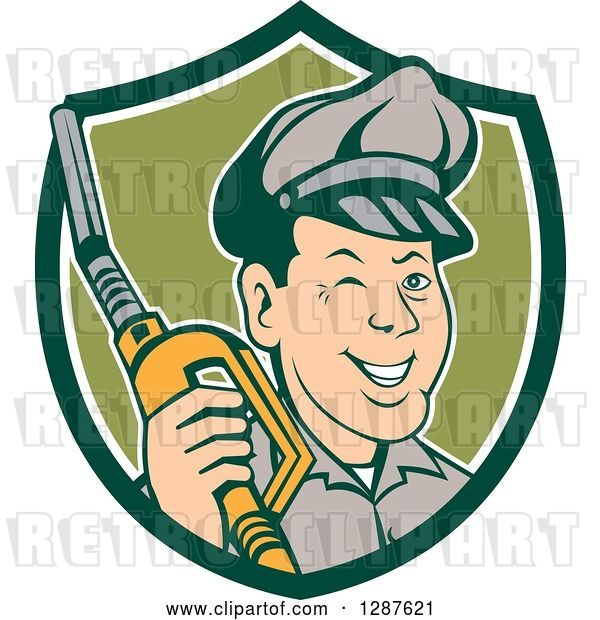 Vector Clip Art of Retro Cartoon Winking Gas Station Attendant Jockey Holding a Nozzle in a Green and White Shield