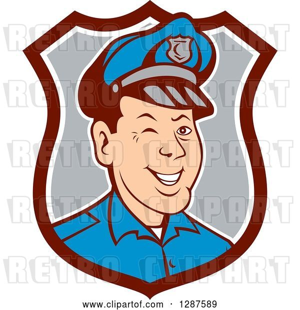 Vector Clip Art of Retro Cartoon Winking White Male Police Officer in a Brown White and Gray Shield