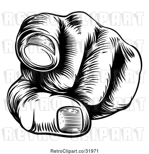 Vector Clip Art of Retro Cartoon Woodcut Hand Pointing Outwards