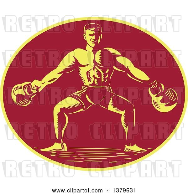 Vector Clip Art of Retro Cartoon Woodcut Male Bodybuilder Working out with Kettlebells in a Yellow and Red Oval