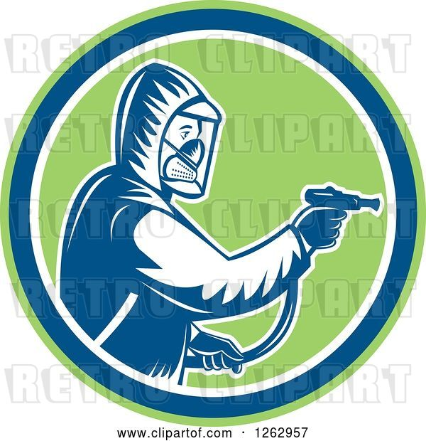 Vector Clip Art of Retro Cartoon Woodcut Pest Control Exterminator Spraying in a Green Blue and White Circle