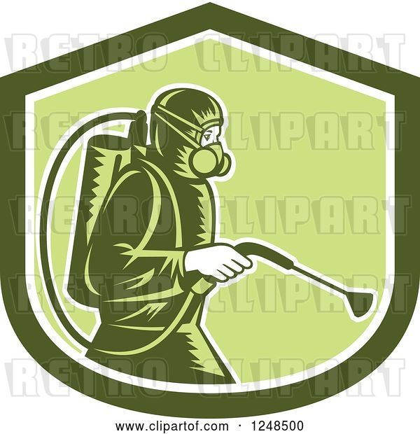 Vector Clip Art of Retro Cartoon Woodcut Pest Control Exterminator Spraying in a Green Shield