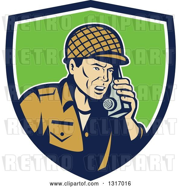 Vector Clip Art of Retro Cartoon World War Two Soldier Talking on a Field Radio in a Blue White and Green Shield