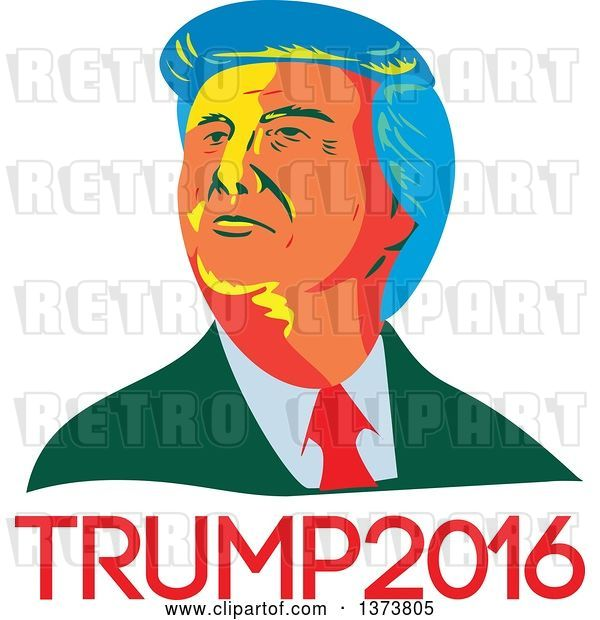 Vector Clip Art of Retro Cartoon WPA Styled Portrait of Republican Presidential Nominee Donald Trump over Text