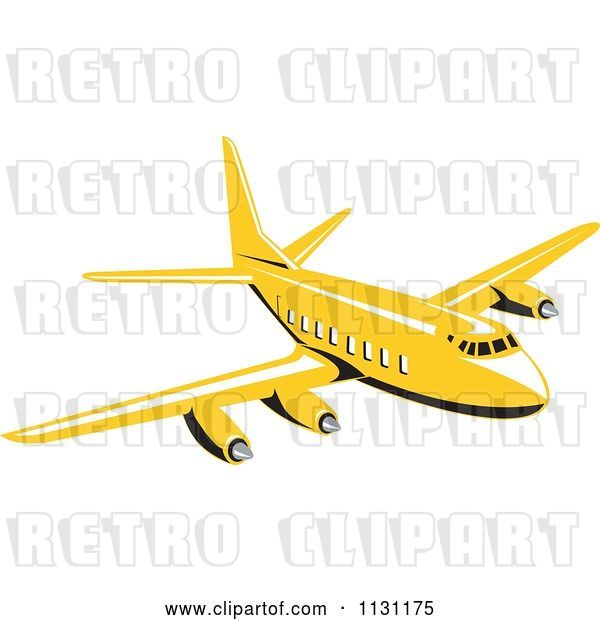 Vector Clip Art of Retro Cartoon Yellow Commercial Airliner Plane