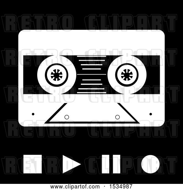 Vector Clip Art of Retro Cassette Tape with Stop Play Pause and Record Buttons in