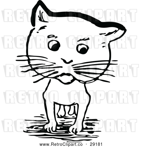 Vector Clip Art of Retro Cat