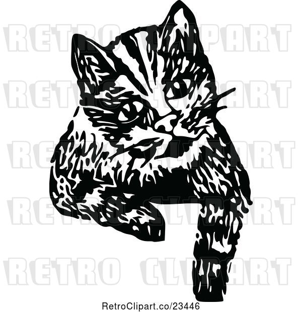 Vector Clip Art of Retro Cat Looking over a Surface