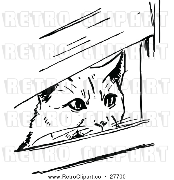 Vector Clip Art of Retro Cat Peeking Through Boards
