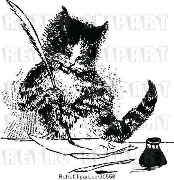 Vector Clip Art of Retro Cat Writing a Letter