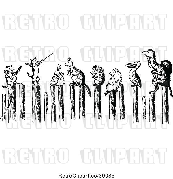 Vector Clip Art of Retro Cats Performing for Animals on Posts