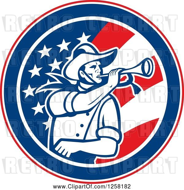 Vector Clip Art of Retro Cavalry Soldier Blowing a Bugle in an American Flag Circle