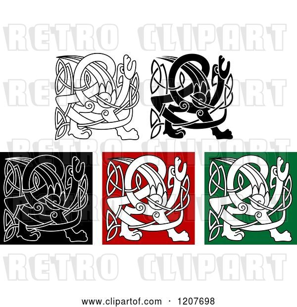 Vector Clip Art of Retro Celtic Griffin Knot Designs