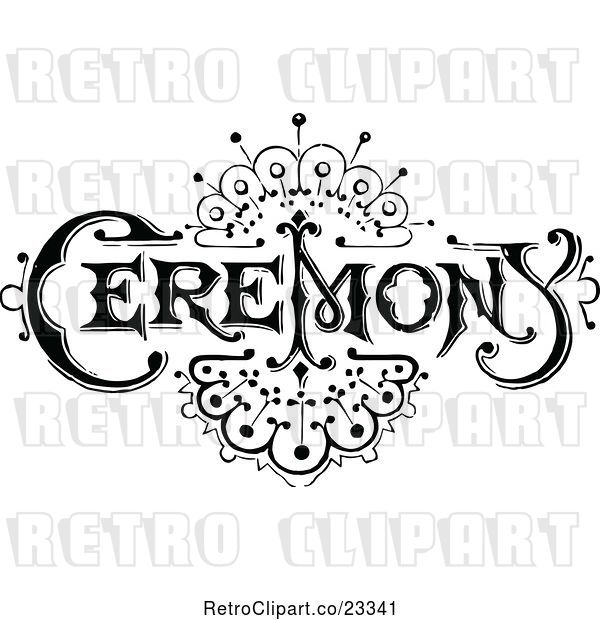 Vector Clip Art of Retro Ceremony Sign with an Art Deco Design