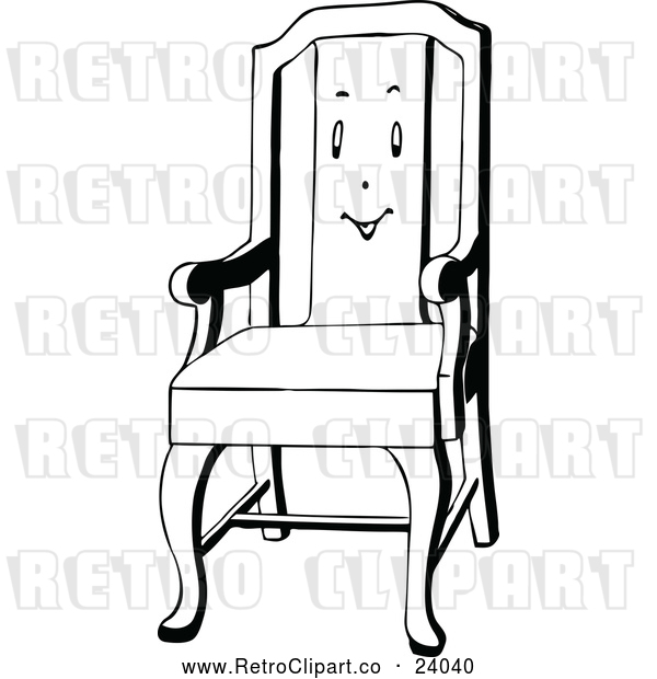 Vector Clip Art of Retro Chair with a Face