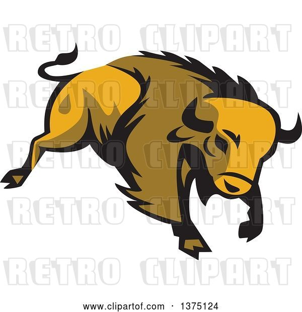 Vector Clip Art of Retro Charging American Bison Buffalo