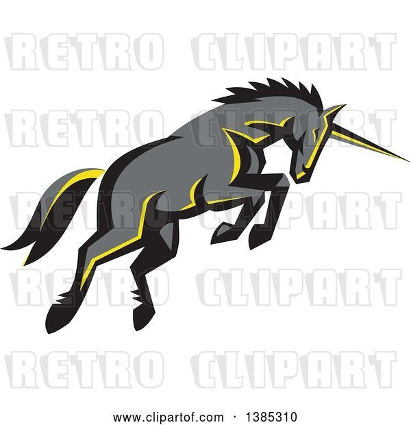 Vector Clip Art of Retro Charging Unicorn