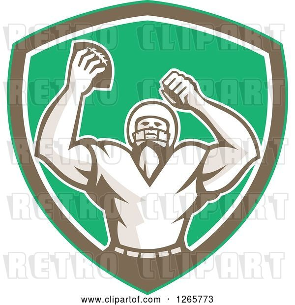 Vector Clip Art of Retro Cheering American Football Player in a Green Brown and White Shield