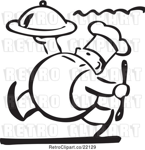 Vector Clip Art of Retro Chef Carrying a Platter