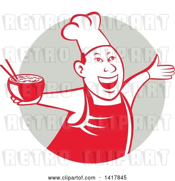 Vector Clip Art of Retro Chef Holding a Bowl of Hot Noodle Soup and Cheering, Welcoming or Dancing in a Gray Circle