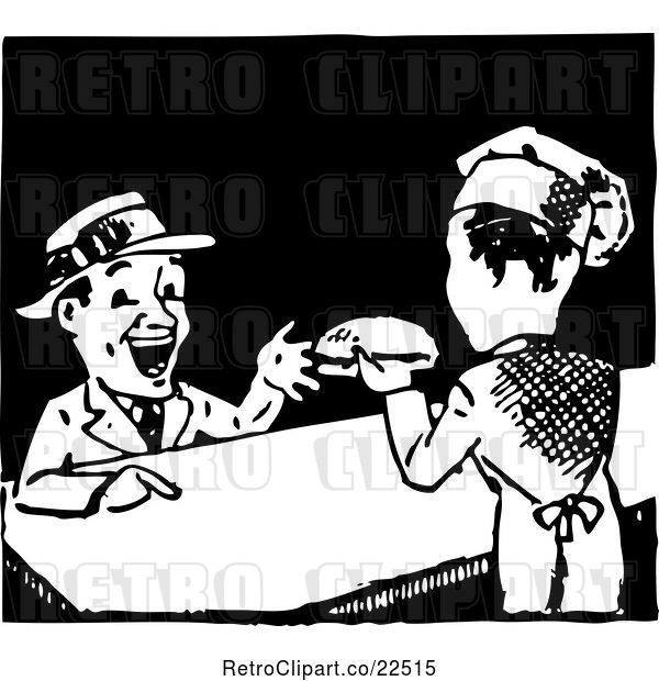 Vector Clip Art of Retro Chef Serving a Hamburger