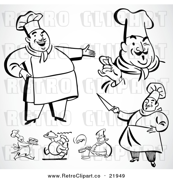 : Vector Clip Art of Retro Chefs