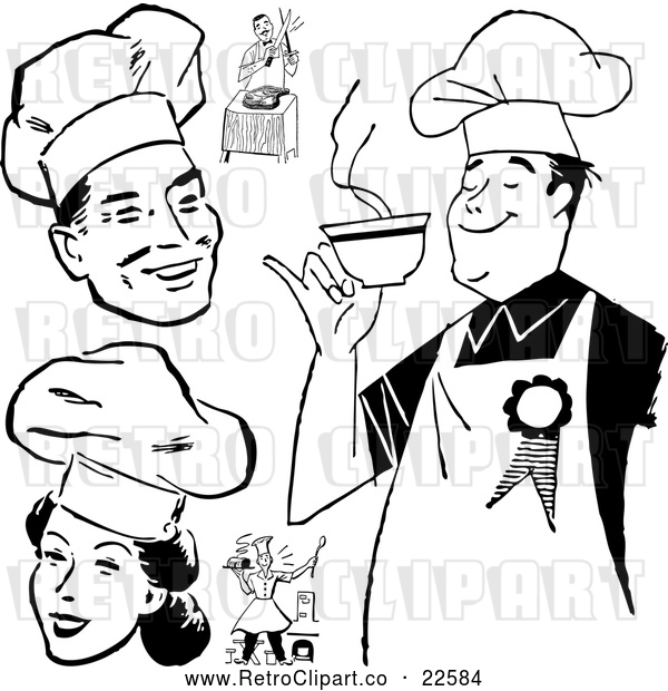 Vector Clip Art of Retro Chefs