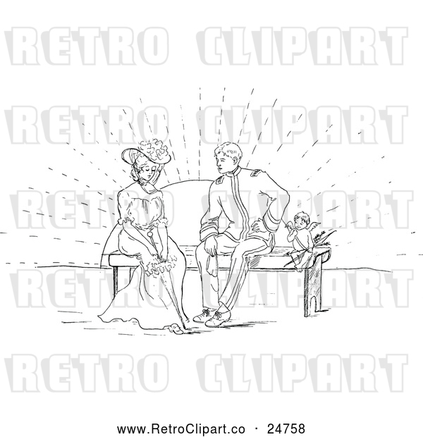 Vector Clip Art of Retro Cherub and Couple on a Bench at Sunset