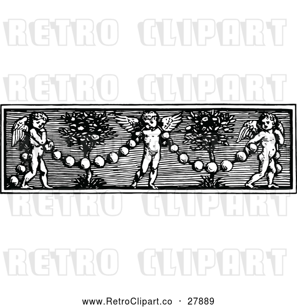 Vector Clip Art of Retro Cherub and Garland Border