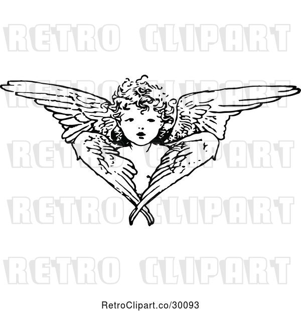 Vector Clip Art of Retro Cherub Angel and Wings
