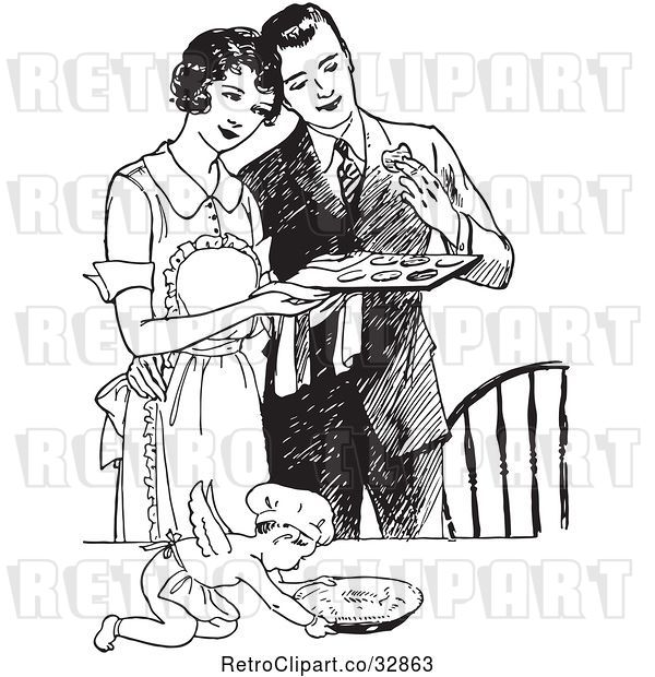 Vector Clip Art of Retro Cherub Chef and Wife Serving Her Husband Fresh Cookies