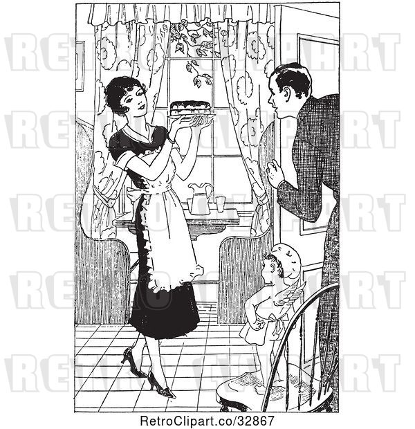 Vector Clip Art of Retro Cherub Chef Watching a Housewife Serve Her Husband Pie
