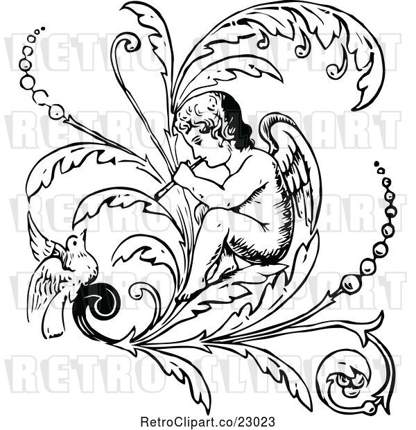 Vector Clip Art of Retro Cherub Playing a Flute on a Flourish with a Bird