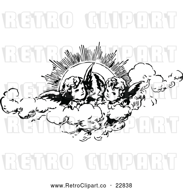 Vector Clip Art of Retro Cherubs in the Clouds Against the Sun