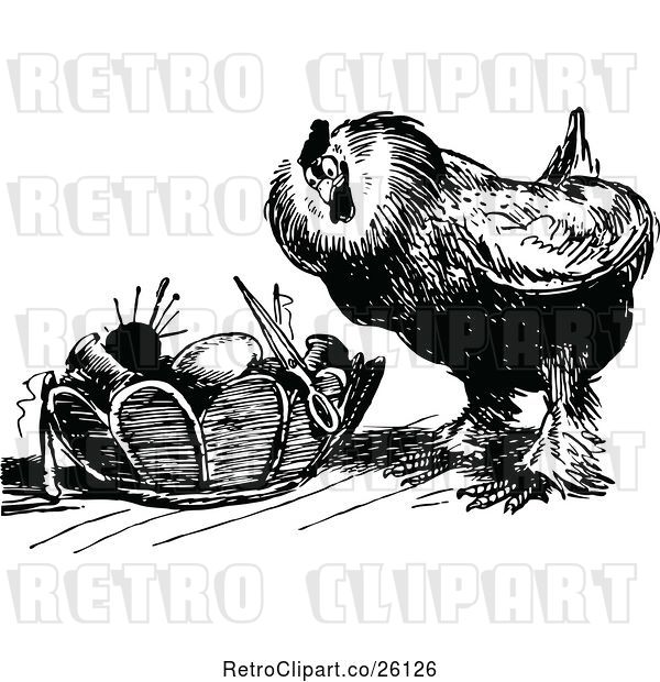 Vector Clip Art of Retro Chicken and Sewing Basket