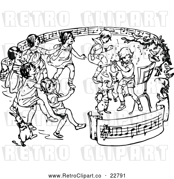 Vector Clip Art of Retro Children Dancing in a Ring of Sheet Music