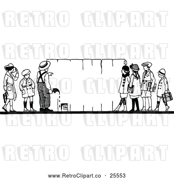 Vector Clip Art of Retro Children Painting a Fence