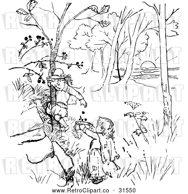 Vector Clip Art of Retro Children Picking Berries from a Tree